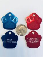 Paw Pet ID Tags | Custom Diamond Engraved Premium Aluminum Pet Tags | 10 Colors