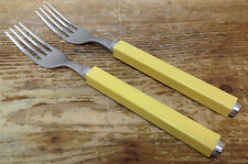 Villeroy Boch Play 2 Two Stainless Plastic Square Italy Yellow 2 Dinner Forks