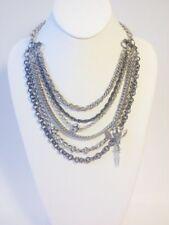Womens Multi Link Gun Metal Dove Pendant Necklace Earring Set
