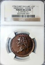 1794 Great Britain Middlesex Spence's Halfpenny Conder Token D&H-682 NGC MS63 RB