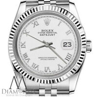 White Gold & Stainless Steel Rolex 31mm Datejust White Roman Numeral Dial Watch
