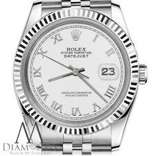 Oro Blanco Rolex 26mm Datejust Números Romanos esfera reloj acero inoxidable