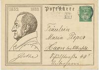 DT.REICH 1932 Sonderpostkarte 100jährigen Todestag Goethes 6 Pf HAMBURG RUNDFUNK