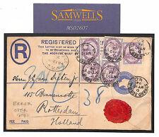 Ms2607 1894 Gb Registered Stationery *Publisbed* Error Superb Usage Holland