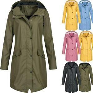 Womens Rain Mac Raincoat Ladies Outdoor Wind Waterproof Jacket Coat Plus Size