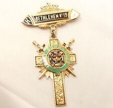 Vtg 14K Gold Mason Past Commander Knights Templar Cross Pin Badge Masonic Enamel