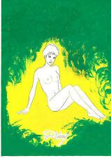RARE EO DESSIN ORIGINAL SIGNÉ RENAUD + JESSICA BLANDY ( CRAYON FEUTRE GOUACHE )