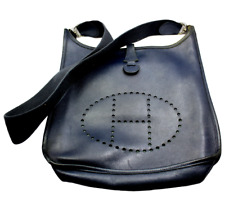 Authentic! Hermes Evelyne Dark Navy Blue Epsom Leather PM Handbag Purse