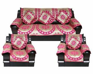 Home Decor Royal Pink Sofa Cover Set of 5 Seater with 6 Arm 12 Pcs