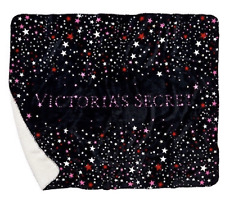"""VICTORIA'S SECRET 2018 SUPER SOFT SHERPA BLANKET LARGE 50""""x60"""" BLACK PINK STARS"""
