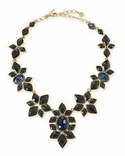 Oscar de la Renta Necklace Choker Designer Runway Flower Blue sapphire Gripoix