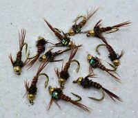 1 Doz Bead Head Flash Back Pheasant Tail Mayfly Nymph Flies-Mustad Signature