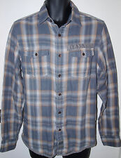 Calvin Klein Mens Small Long Sleeve Gray Brown Plaid Button Down Casual Shirt