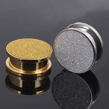 New 1 Pair Surgical Steel Silver Gold Glitter Foil Screw Ear Plug Flesh Tunnel