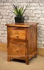 Solid Indian Rosewood Jali Sheesham Bedside Table Unit with 2 Drawers - IBF-021A