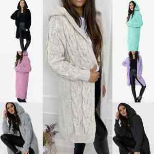 Italian Women's Chunky Cable Open Front  Knitted Oversized Long Hooded Cardigan