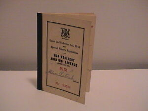 1951 ONTARIO CANADA NATURAL RESOURCES NON RESIDENT FISHING ANGLERS BOOK LICENSE