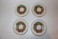 Disney Direct Christmas China Disney Characters Gold Trim 4 Salad Dessert Plates