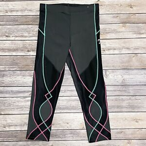 CW-X Gray Black Compression Long Shorts Capri Leggings Cycling Mesh Small EUC