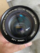 Near Mint! Vivitar auto telephoto Close focusing 135mm f2.8 Minolta M/SR mount