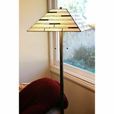 "Tiffany Style Contemporary Floor Lamp 2 Lights 16"" Shade Handcrafted New"