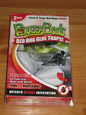 2 NEW AUTO BED BUG MONITORS GLUE TRAPS FROM BUGGYBEDS SHARK TANK SLIDE & HIDE