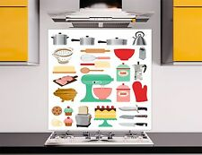 Kitchen Utensil 2 TOUGHENED Glass Kitchen Cooker Splashback Lounge Photo 60x60cm