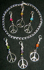 7 pc Crystal Silver Peace Sign Clip On Charm Bracelet NEW Handmade Multi Color