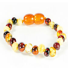 Genuine Mixed Colour Baltic Amber Baby Teething Bracelet / Anklet Knotted - 14cm