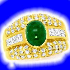 Markenlose Echte Diamanten-Ringe aus Gelbgold mit Smaragd