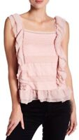 NWT Womens Romeo & Juliet Couture Pink Sleeveless Lace Ruffle Top Sz M Medium