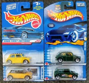 Lot of 4 Hot Wheels Mini Cooper with 2000 First Edition Collectors.com Variation