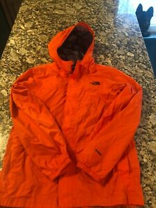 THE NORTH FACE Jacket Boys Large 14-16 Hooded Waterproof Rain Coat ORANGE HyVent