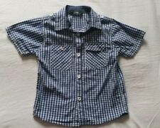 Blue checked cotton short-sleeved shirt for 4-5 years - hardly worn