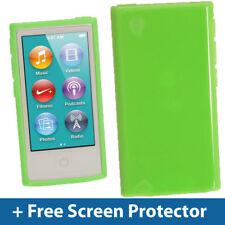 VERDE GLOSSY TPU Gel Custodia per Nuovo Apple iPod Nano 7a Generazione 7G Cover Guscio