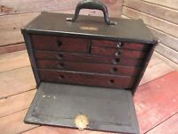 VINTAGE 1930-40's WOOD MACHINIST TOOL BOX CHEST 6 DRAWERS