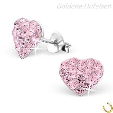 Rosa Kristall Herz Ohrstecker 925 Sterling Silber Ohrringe Geschenkidee / 004v