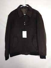 02a4bec3b1b3e NEW Paul Fredrick Mens Coat Sz Large Brown Varsity Bomber Full Zip Wool  Cashmere