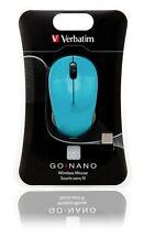 ($0 P&H) Verbatim Laptop Mice Go Nano Wireless Optical Mouse Mac/PC - Blue 49044