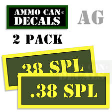 38 SPL Ammo Can Stickers 4x .38 Special Ammunition Gun Case Label Decal 2pack AG
