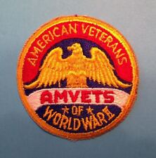 Rare Vintage 1960's American Veterans of World War II 2 Jacket Hat Patch Crest