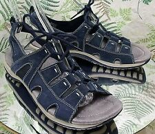 EARTH ORIGINS NAVY BLUE LEATHER SLINGBACK SANDALS OPEN TOE SHOES WOMENS SZ 9.5 M