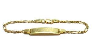 """10K Gold 5"""" Engraved Personalized Baby Figaro Link I.D. Bracelet"""