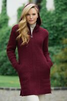 Aran Crafts Ribbed Wine Coat Cardiagn Sweater hd4826 - Made in Ireland