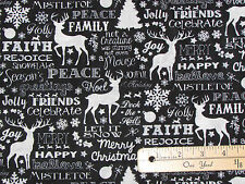 Black Chalkboard Christmas Words Timeless Treasures Fabric by The 1/2 YRD #c4620