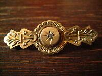 aufs feinste verzierte Jugendstil Brosche Krawattennadel Stabbrosche 375er Gold
