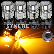 4x 3157 3156 Amber Yellow Q5 Cree Chip+12SMD LED Turn Signal Blinker Light Bulbs