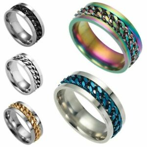Silver/Black/Gold/Rainbow Spinner Chain Rings Stainless Steel Men Band Size 7-12