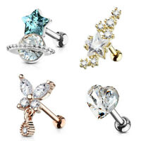 Barbell Studs Helix Tragus Rook Piercing Crystal Stars Conch Cartilage Earring1