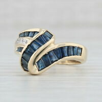 1.75 Blue Sapphire Cocktail Ring 14k Yellow Gold Size 7.25 Diamond Accents